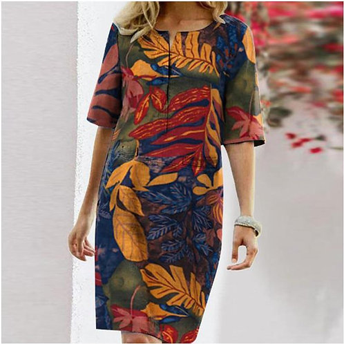 Autumn Cotton Linen Dress Spring Button O-Neck Printing Knee Party Dress