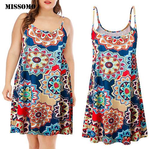 Printed Sleeveless Above Knee Mini Dress Summer Dress Sundress Beach Dress