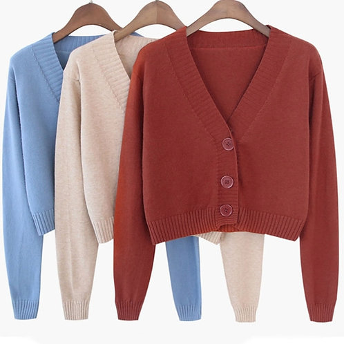 Long Sleeve Sweater Cardigan Sexy V-Neck Button Down Cropped Jacket Sweet Solid