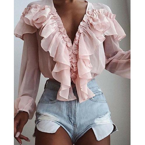 Summer Women Chiffon Stylish Top Solid Color V-Neck Sun -Fairy Blouse