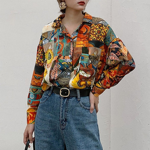 Women Retro Sunflower Shirt Oil  Print Blouse Loose Lapel Tops and Blouses