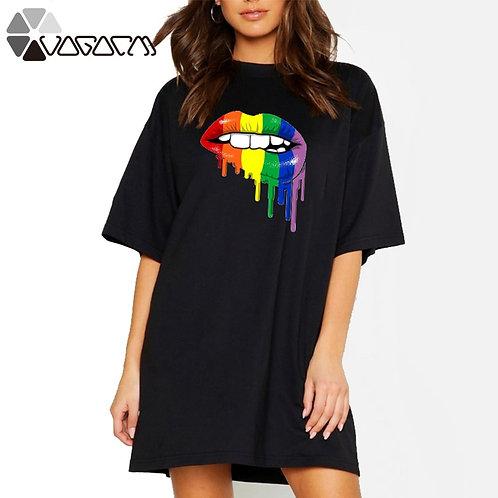 2021 Women Mini Sexy T-Shirt Lips Print Plus Size 4XL Casual Street Dress  Robe