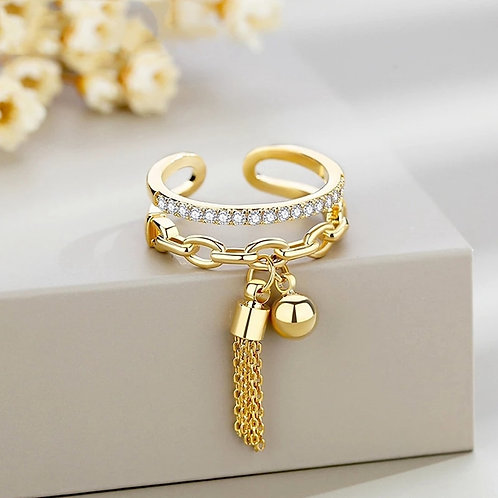 Crystal Rings Link Chain Zirconia With Spike /White Opening Ring Jewelry