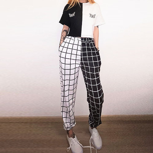 Pants Harajuku Woman Trousers Elastics High Pants  Plaid Prited Pants