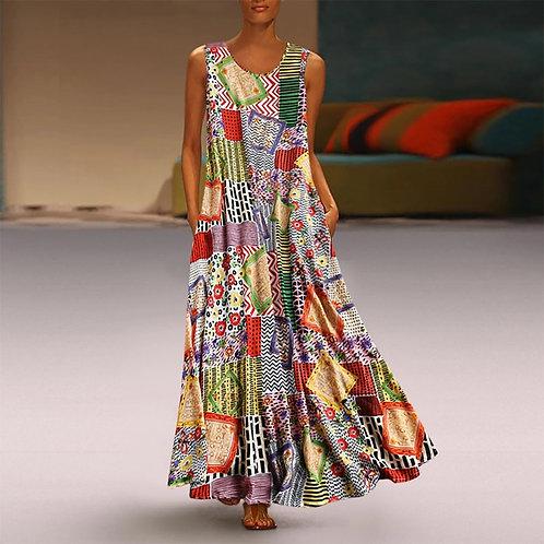 Print Boho Straight Solid Kaftan Summer Dress Ladies