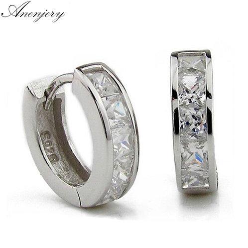 925 Sterling Silver Square Zircon Stud Earrings for Men Women Oorbellen