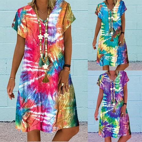 Tie Dye Dress Women Loose Colorful Prin Dress Plus Size Hort Dress Fashion Short