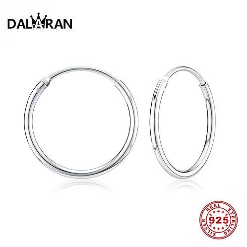 Earrings 925 Sterling Silver Circle Round Hoop Earrings for Women Men Fashion