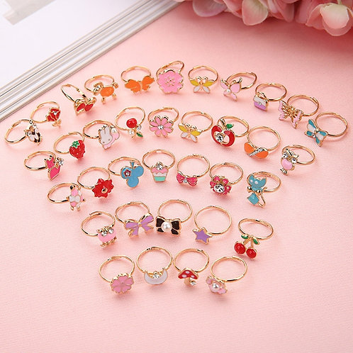 10pcs Cute Rings Flower Alloy Finger Ring Jewelry Gift Adjustable Rings