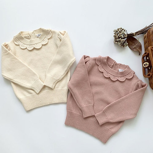 Girls Long Sleeve Knit Lace Sweater Autumn Winter Baby Clothing Girls