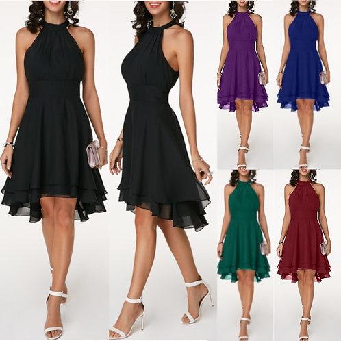 Women Dress Elegant Cropped Layered High Waist Chiffon Party Slim Midi Dress