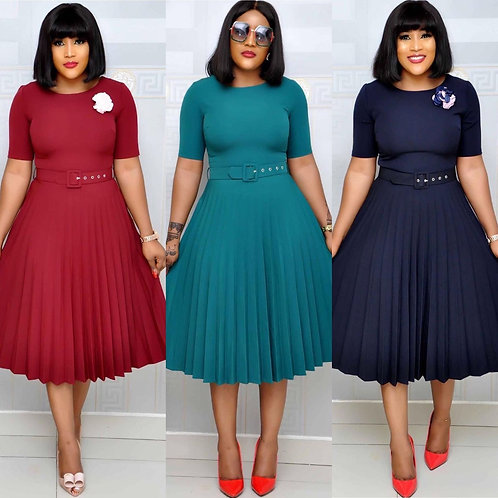 O-Neck Short Sleeve Solid Color Pleated With Belt Mid-Calf Length Dress