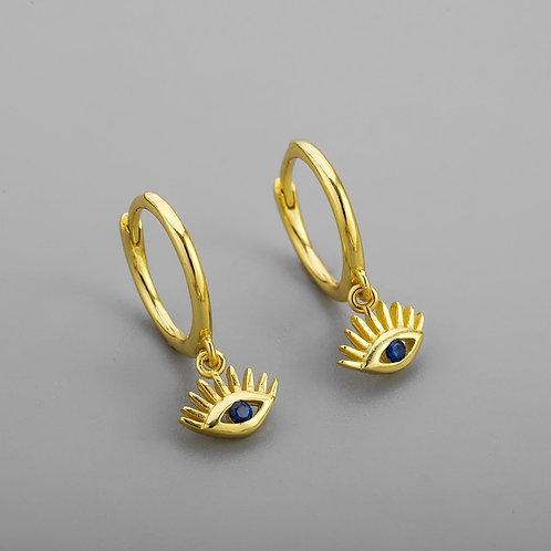 925 Sterling Silver Blue CZ Eyes Hoop Earring Fashion Jewelry New Gifts 2021