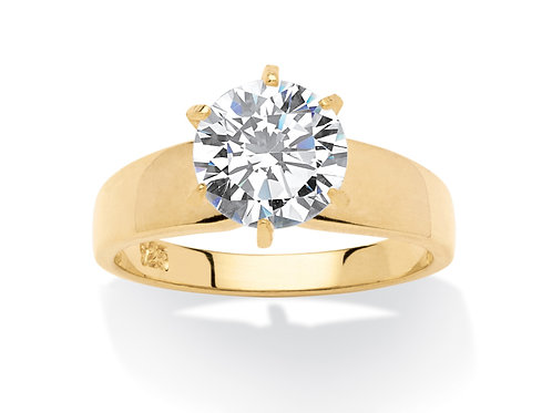 3 TCW Round Cubic Zirconia 14k Gold over Sterling Silver Solitaire Bridal Engage