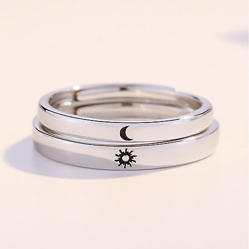 Ring Minimalist Silver Color Sun Moon Adjustable Engagement Jewelry