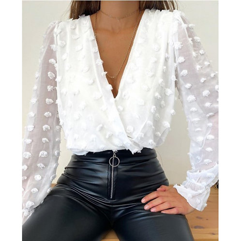 2021 Sexy V-Neck Blouse Solid  White Shirts Tops Female Spring Long Blusas