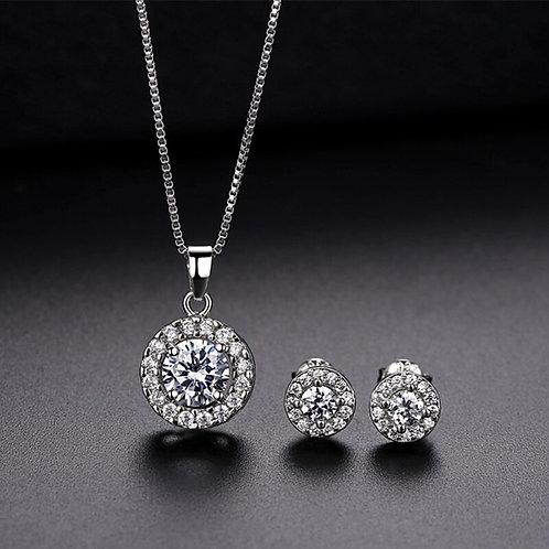 Anniversary Gift Bride Necklace Ring Bridal Set Women Wedding Luxury 1Set