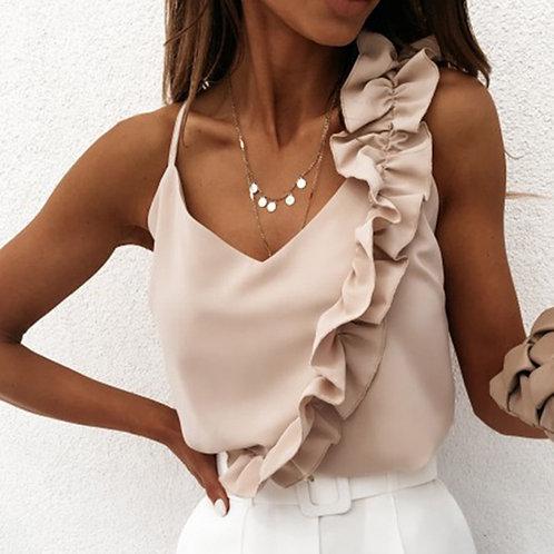 Women Sexy v Neck Ruffle Blouse Shirts Summer Tops Sleeveless Ladies Blouses