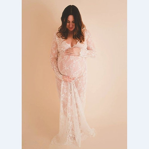 Props Maxi  Clothes Lace Dress Fancy Photo Summer Pregnant Dress S-4xl