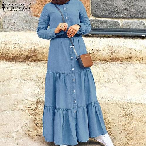 Women's Autumn Ruffle Vestidos Plus Size Fashion   Robe Button  Dress