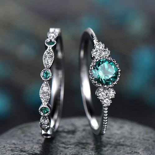 Women Fashion Ring Couple Jewelry 1 Pair Rings Set  Bridal Jewelry Size 6-8 #3