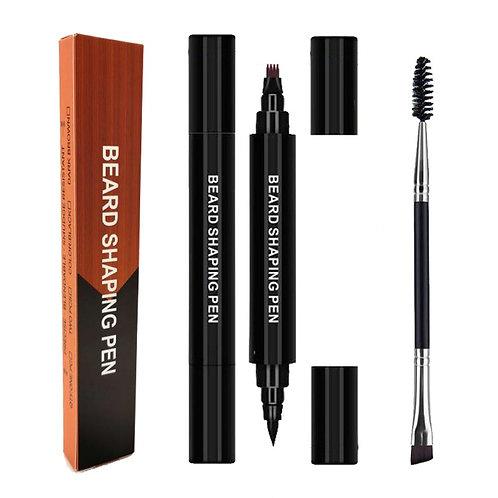2 in 1 Four-Pronged Pencil Filler Men's Beard Pen Filling Pen With Brush Kit
