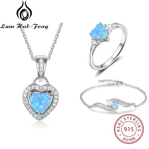 Jewelry Sets for Women 925 Sterling Silver Blue Heart Rings Cubic Zircon