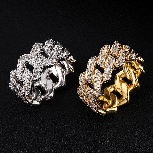 Iced Out Cuban Ring Men's  Gold Silver Color  Cubic Zirconia Ring  Jewelry