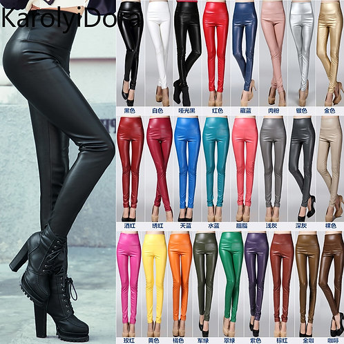 Women PU Leather Pants Female Sexy Elastic Stretch Leather Skinny Pencil Pant