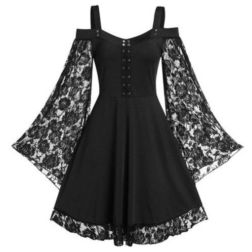 Gothic Vintage Lace Women Dress Plus Size Goth Ladies Spaghetti Strap Dresses