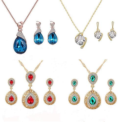 Luxury Wedding Bridal Water Tear Jewelry Set Elegant Earrings Set for Women Gift