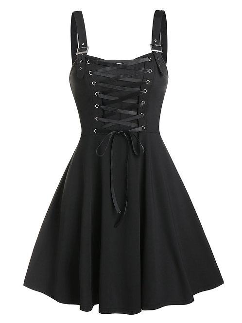 Sexy Lace Up Buckle Strap a Line Dress
