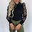 Thumbnail: Knitted Polka Dot Puff Long Sleeve Blouse Mesh  Elegant Ladies Slim Tops Femme