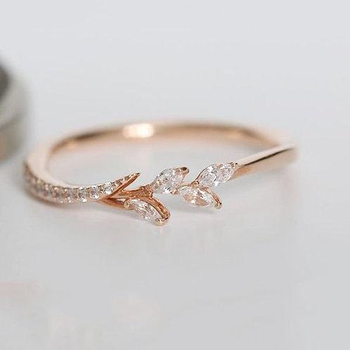 18k Rose Gold Eternity Filigree Leaf Diamond Engagement Wedding Band Rings