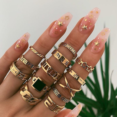 Luxury Shiny Crystal Stone Gold Rings for Jewelry Anillos Mujer