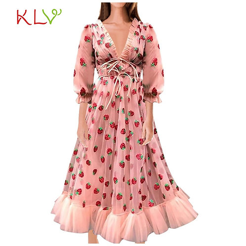 Dress for Women Mesh Plus Party Dresses Mushroom v Neck Puff Sleeve Bandage