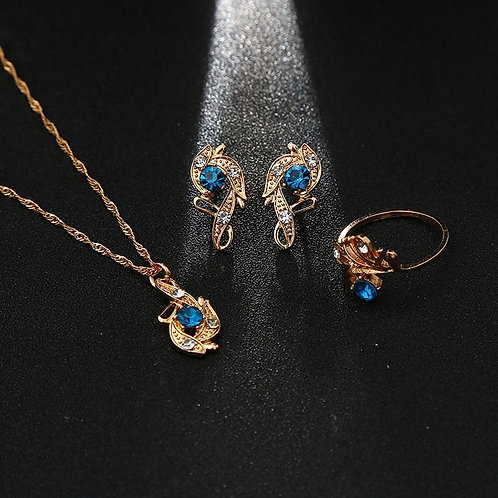 Luxury Red Blue White Crystal CZ   Earrings Set for Women Gold Wedding Sets
