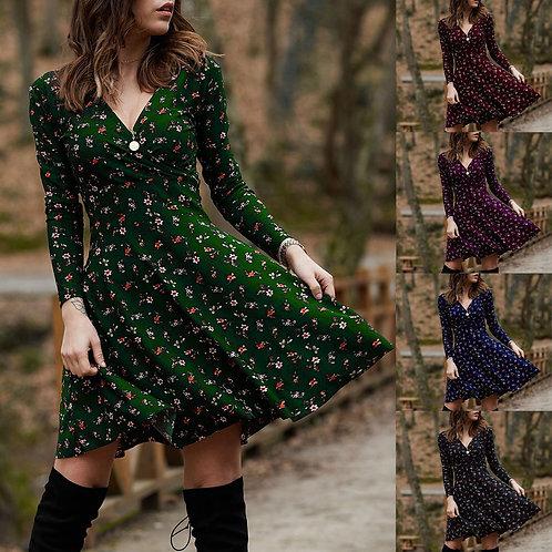 Winter Dress for Women v Neck Long Sleeve Robe