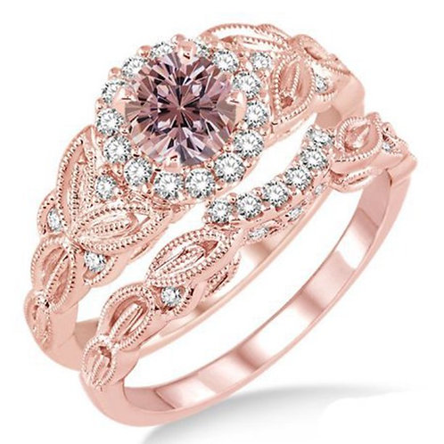 Women's Floral Pair Finger Champagne Zircon Copper Plated Rose Gold Ring