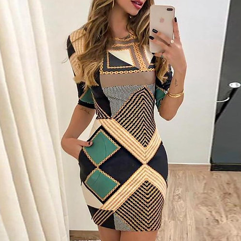 Elegant Dress Fashion Print Short-Slim Round Neck Dress and Mini Dress