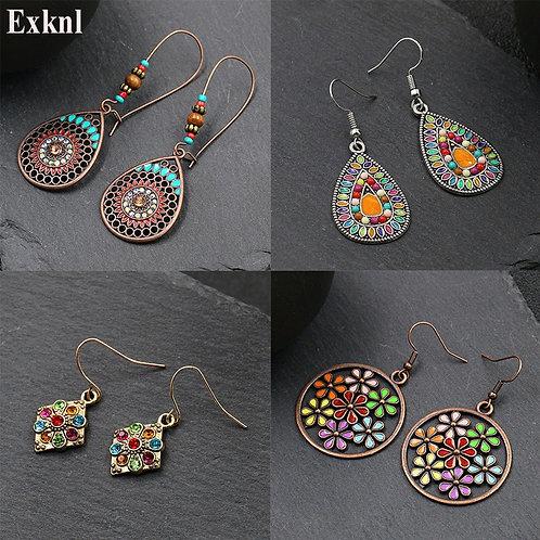 Earrings for Women Alloy Crystal Ethnic Beads Boho Flower Earrings Colorful