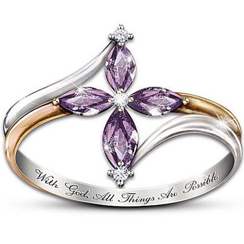 Fashion 925 Sterling Silver Cross Diamond Love Heart Amethyst Ring