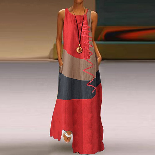 Women Patchwork Sundress Maxi Casual Dress Female Tank Party Dress Plus Size