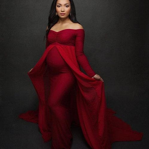 Long Sleeve Pregnancy Dress Props Maxi Dresses for Shoot Pregnant Women Clothes
