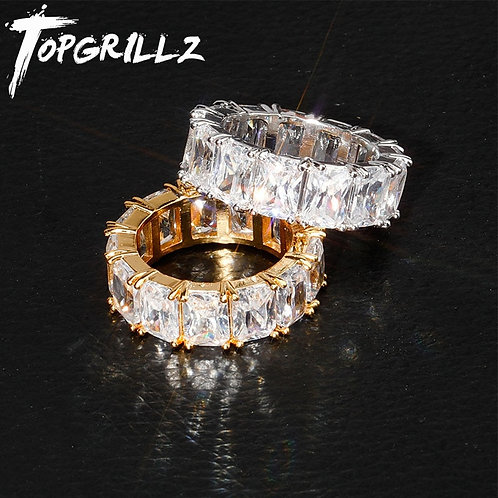 1 Row Solitaire Cubic Zircon Iced Ring Fashion Jewelry for Gifts