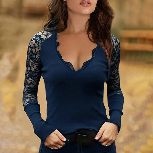 Sexy V-Neck Tops Tee Summer Casual Ladies Tops Female Sleeve Blusas Pullover