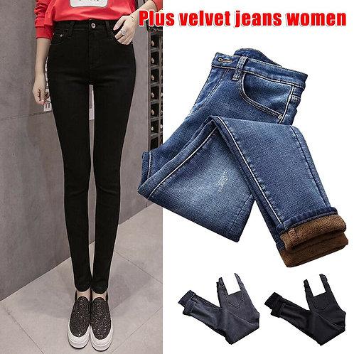 Women High Waist Thermal Jeans Fleece Lined Denim Pants Skinny Pants Ropa Mujer