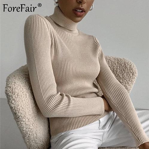 Forefair 2021 Autumn Sweater Korean Casual Long Sleeve Solid Ladies Skinny