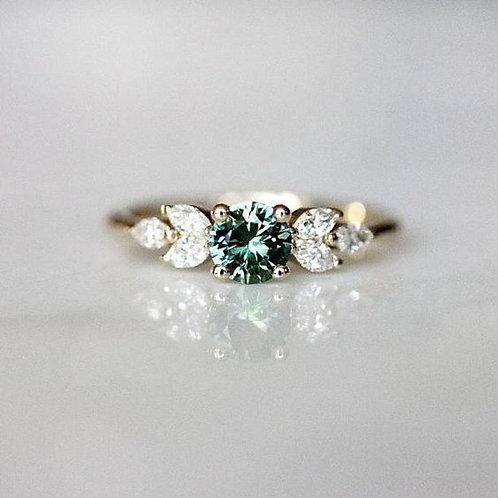 Women's European And American Emerald Zircon Diamond Ring