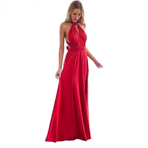 Multiway Wrap Convertible Red Bandage Long Dress Party Bridesmaid Infinity Robe
